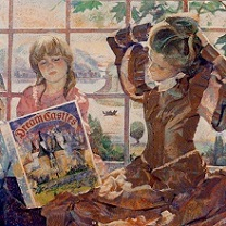Girls Reading on Window Seat by Chris Duke