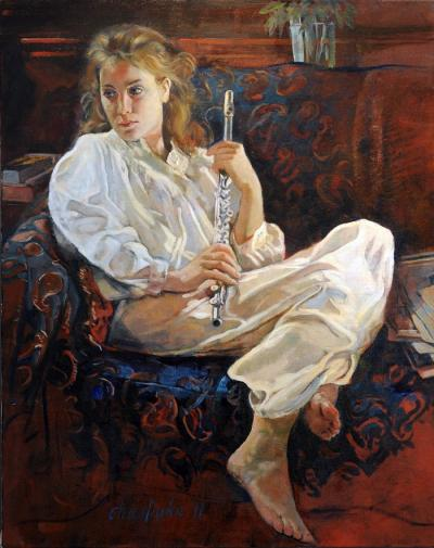 Inga with Flute by Chris Duke