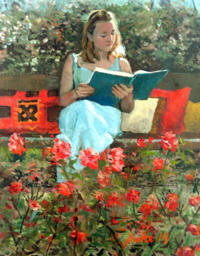 Woman Reading in Rose Garden by Chris Duke