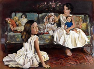 English Setter Morey with Sisters by Chris Duke