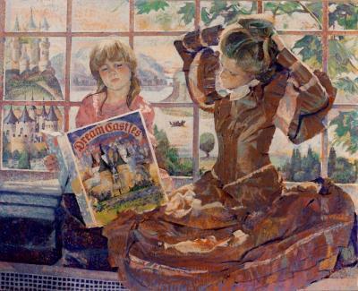 Girls Reading on Window Seat by Chris Duke