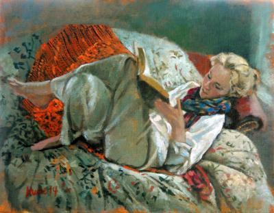 Woman with Orange Shawl - I by Chris Duke